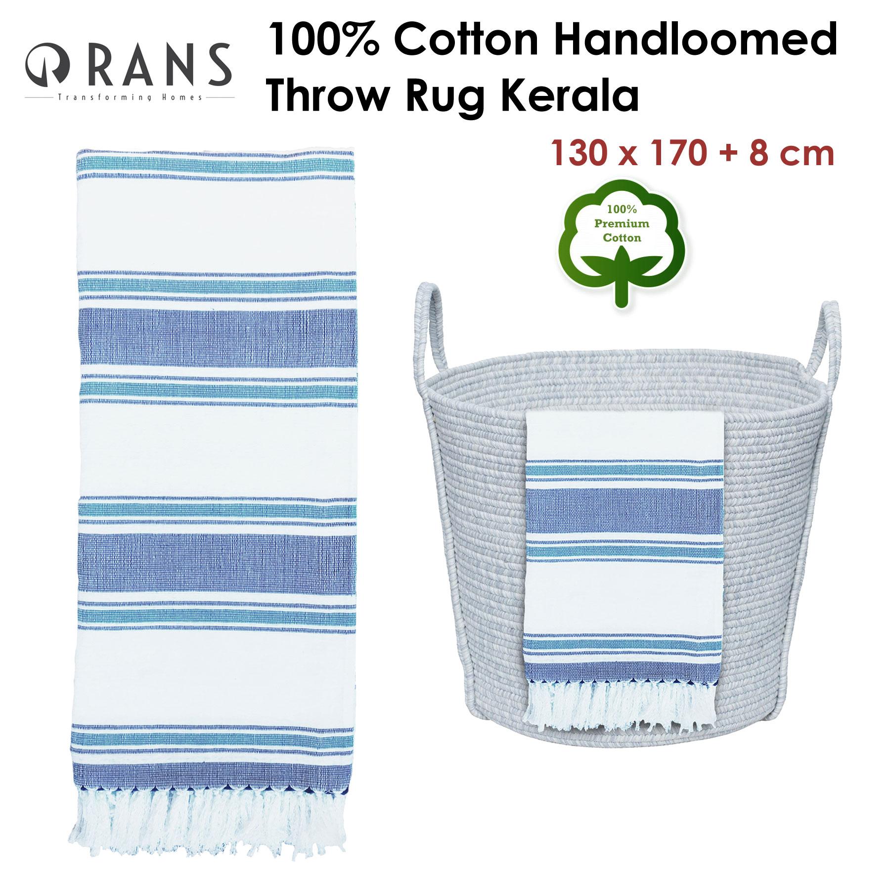 8 cm by Rans Premium 100/% Cotton Handloomed Throw Rug Kerala 130 x 170