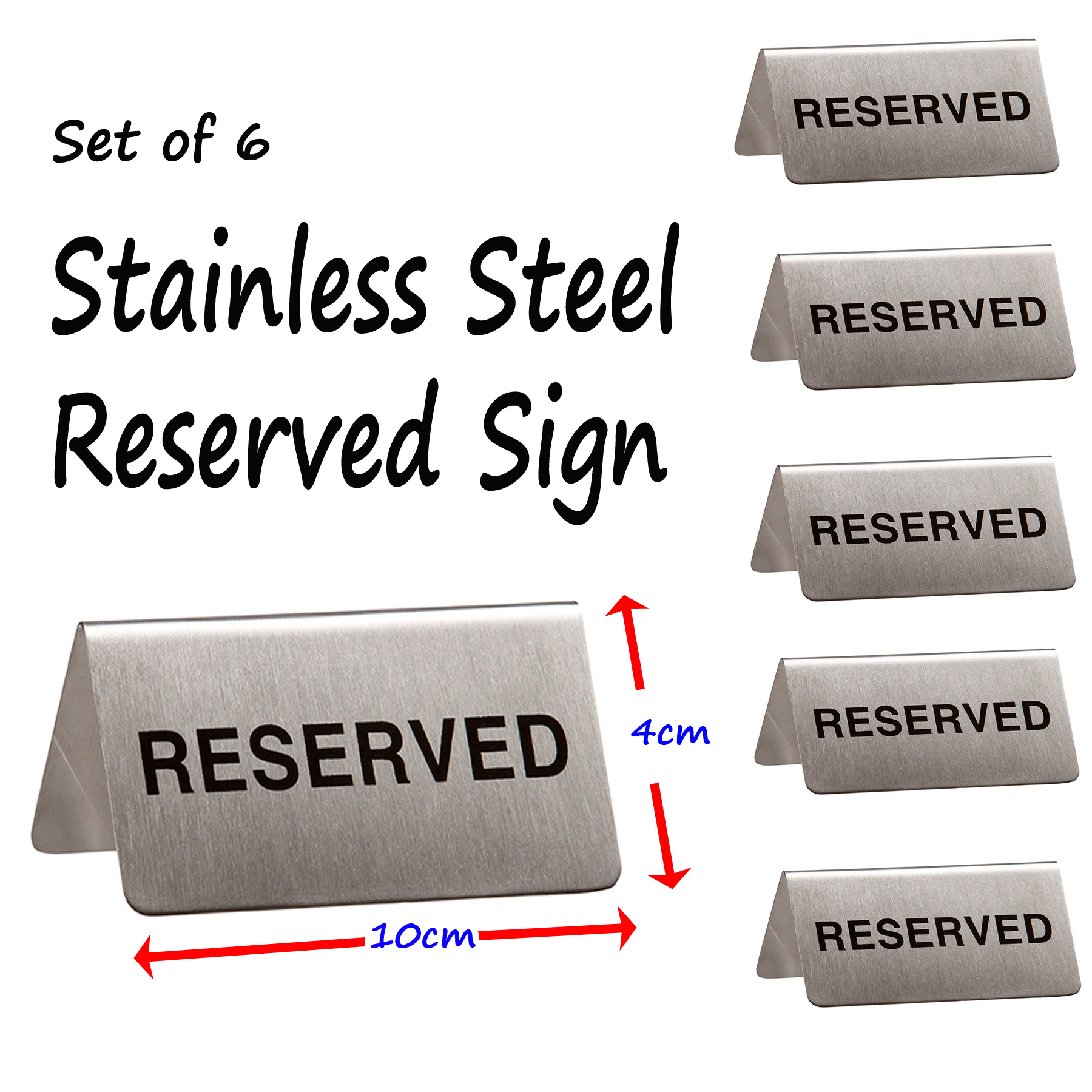 Stainless Steel Reserved Table Sign: Reserved Booking Table Sign Stainless Steel