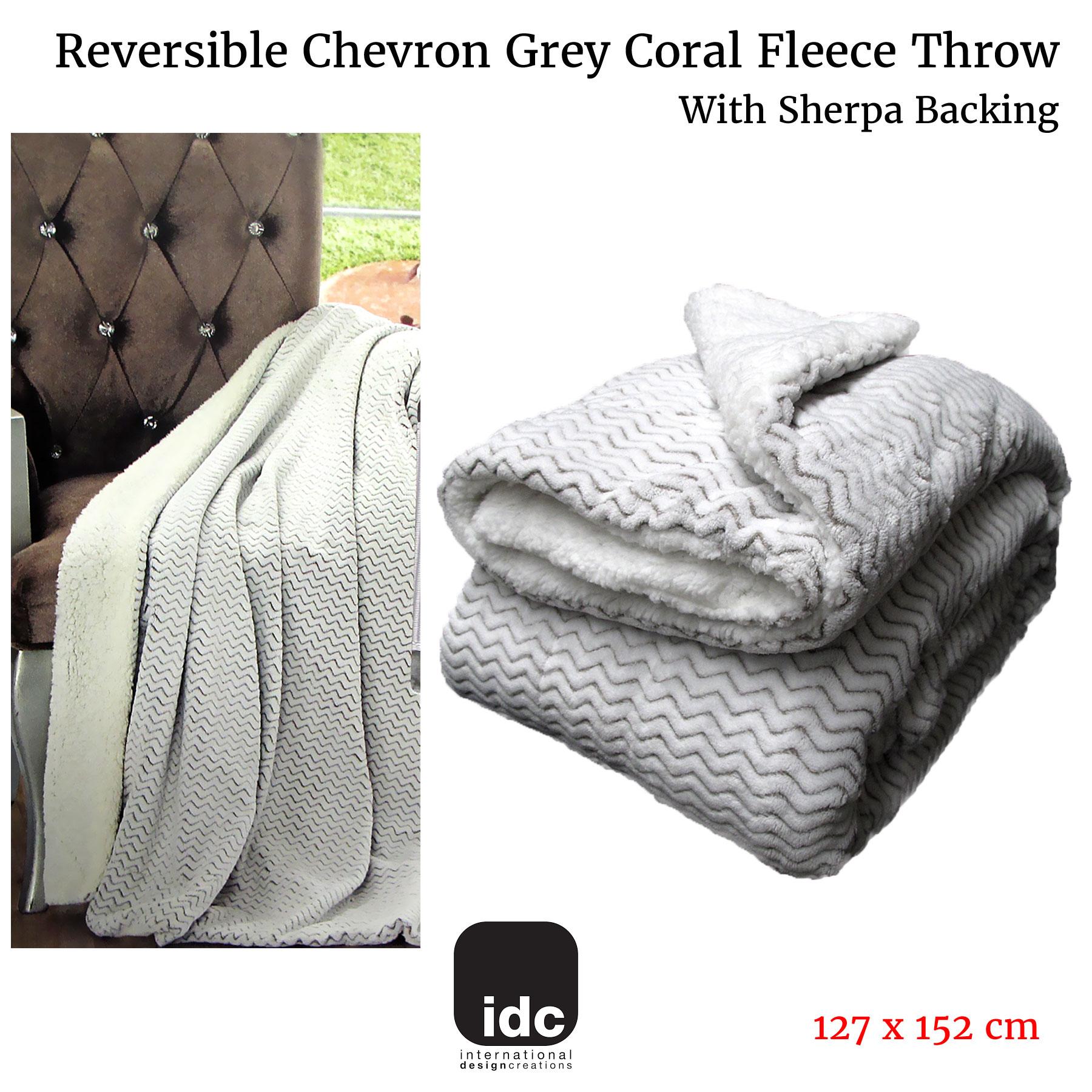 Reversible Chevron Grey Coral Fleece Sofa Lounge Throw with Sherpa Backing