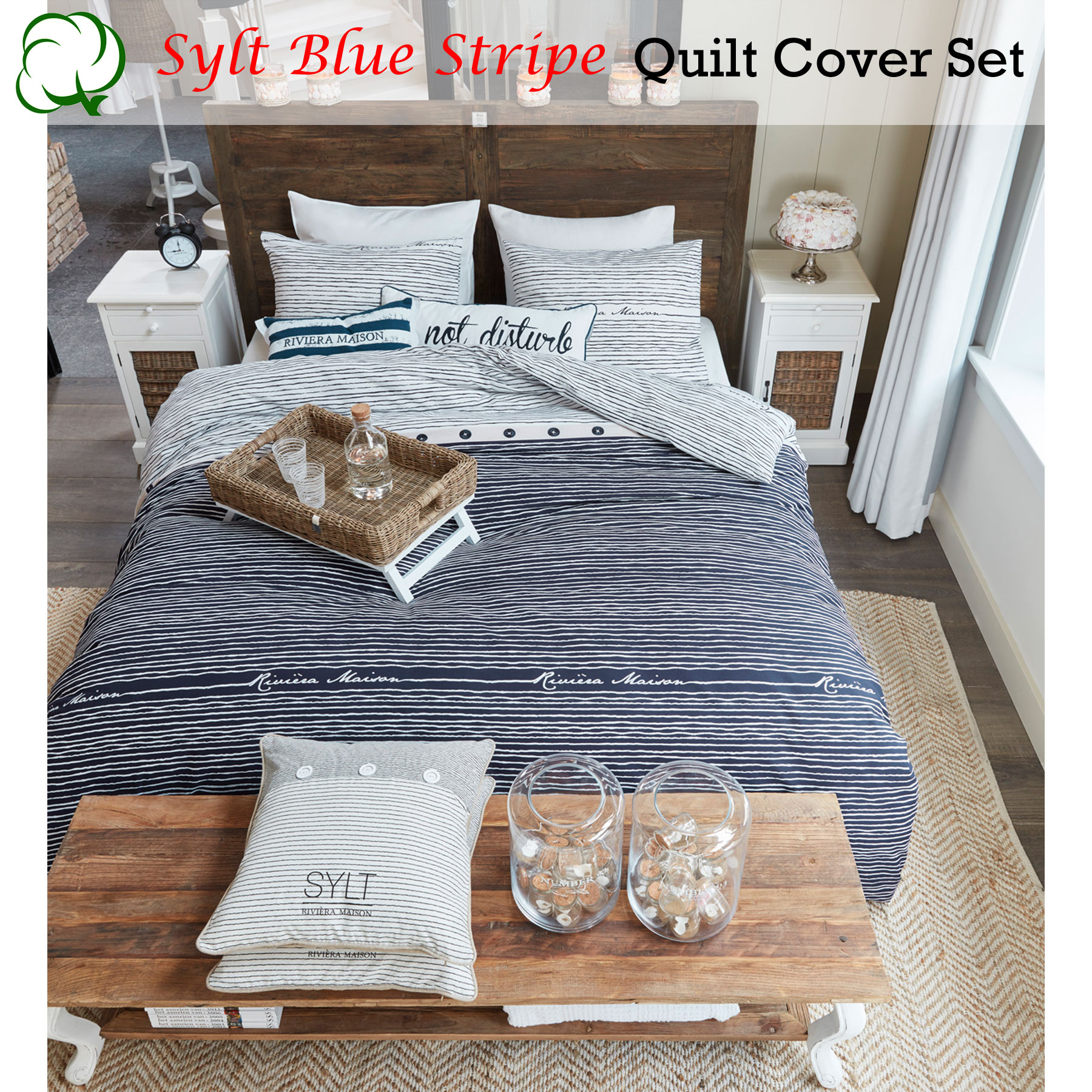 Riviera Maison Bed.Details About Cotton Sylt Blue Stripe Quilt Cover Set By Riviera Maison Queen King Super King