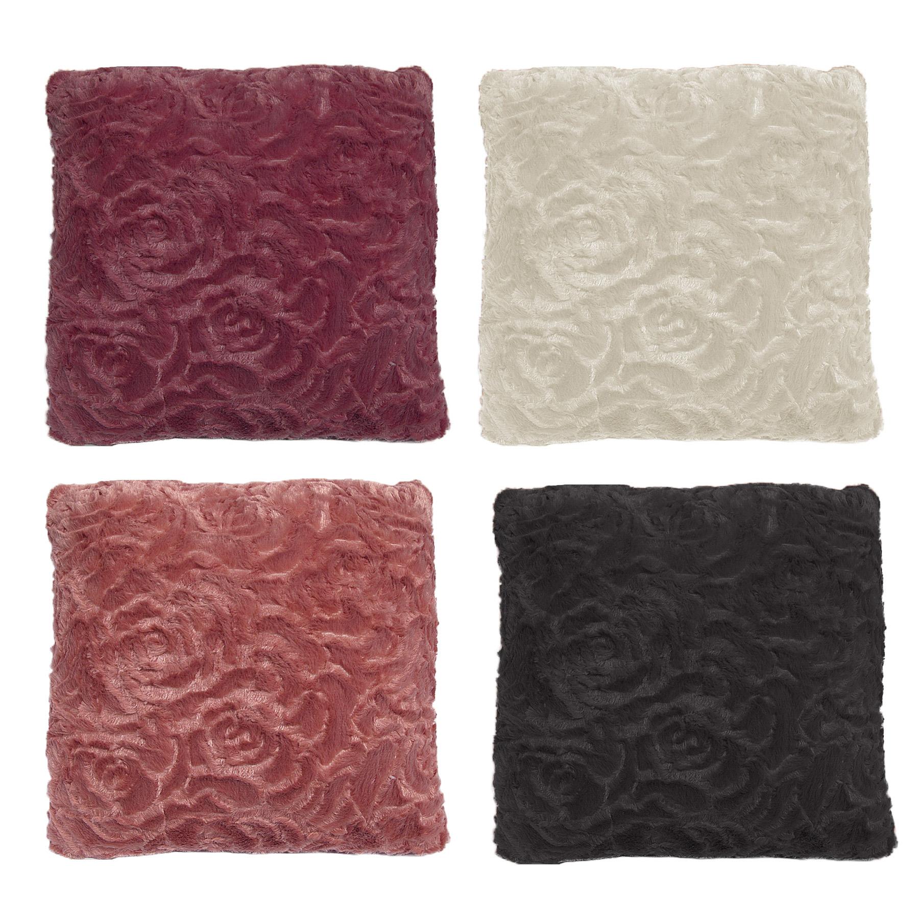 ROSE Faux Fur FILLED Cushion 45cm X 45cm BURGUNDY, DUSTY