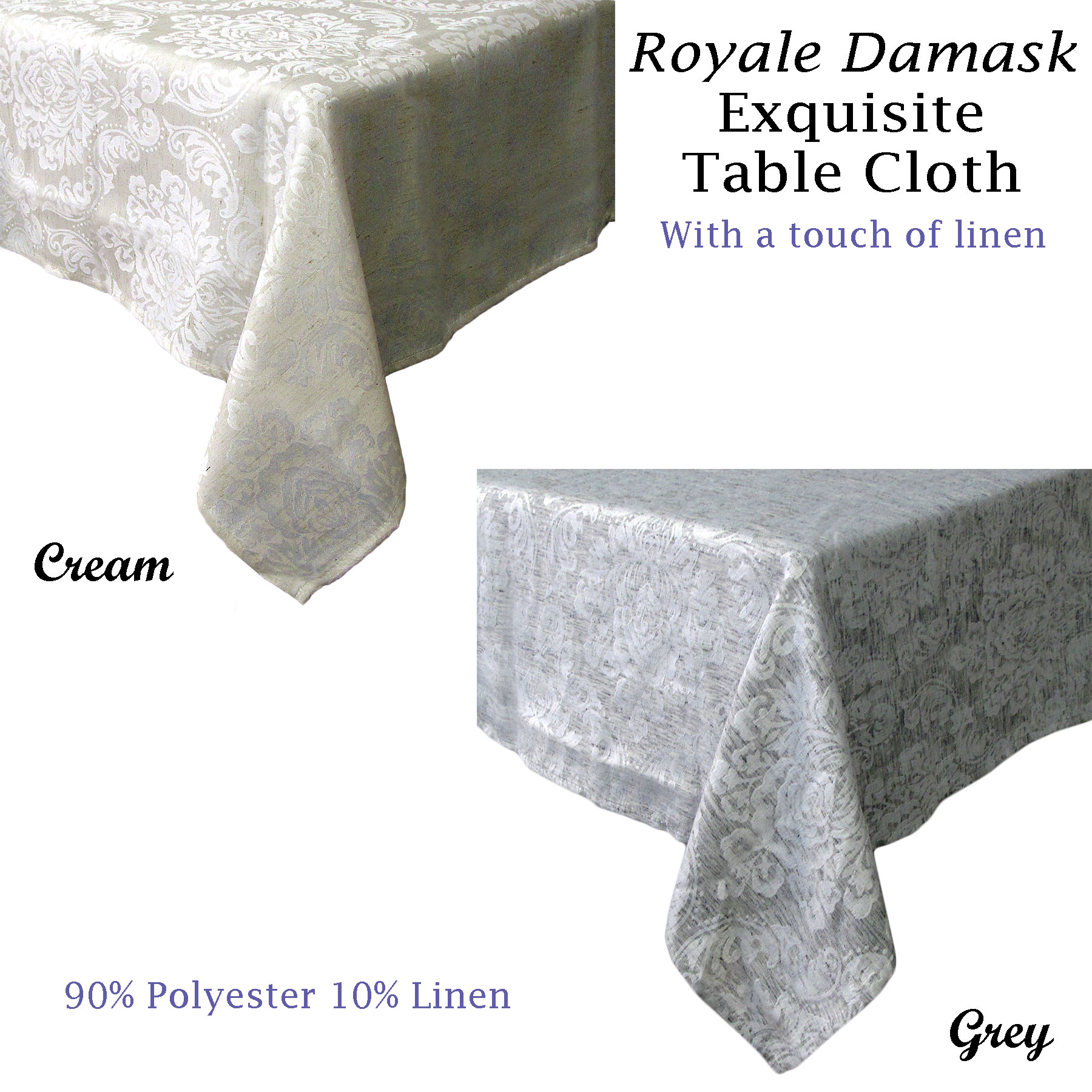 Poly Cotton Tablecloth 10-12 Seater 10 8-10 ROUND SQUARE RECTANGLE 6-8