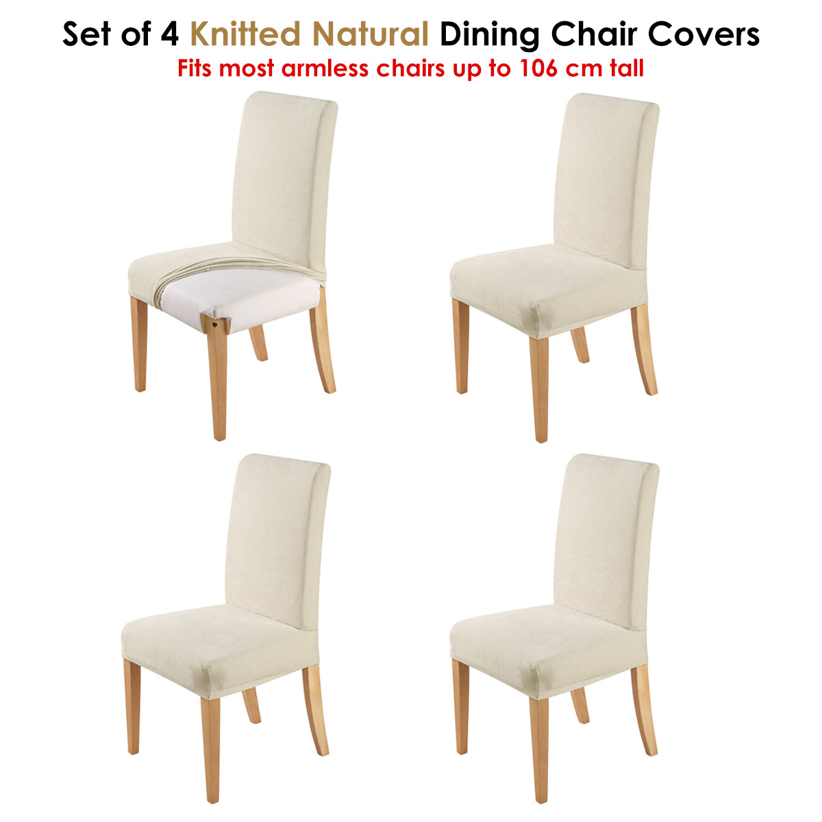 Set Of 4 Easy Fit Stretch Dining Chair Covers Knitted Natural By Home Innovat Ebay