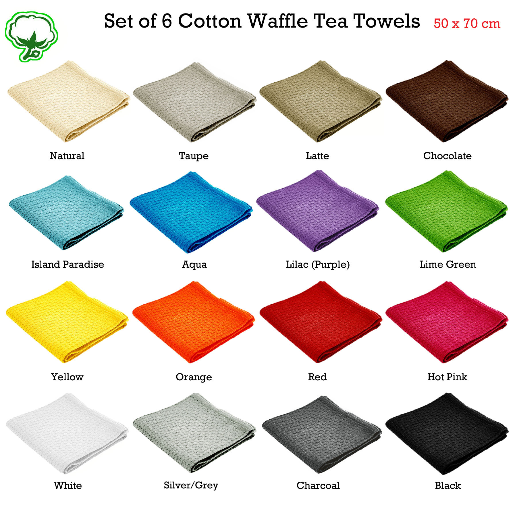 Set of 6 100% Cotton London WAFFLE Pattern Tea Towels 50 x 70cm - 13 ...