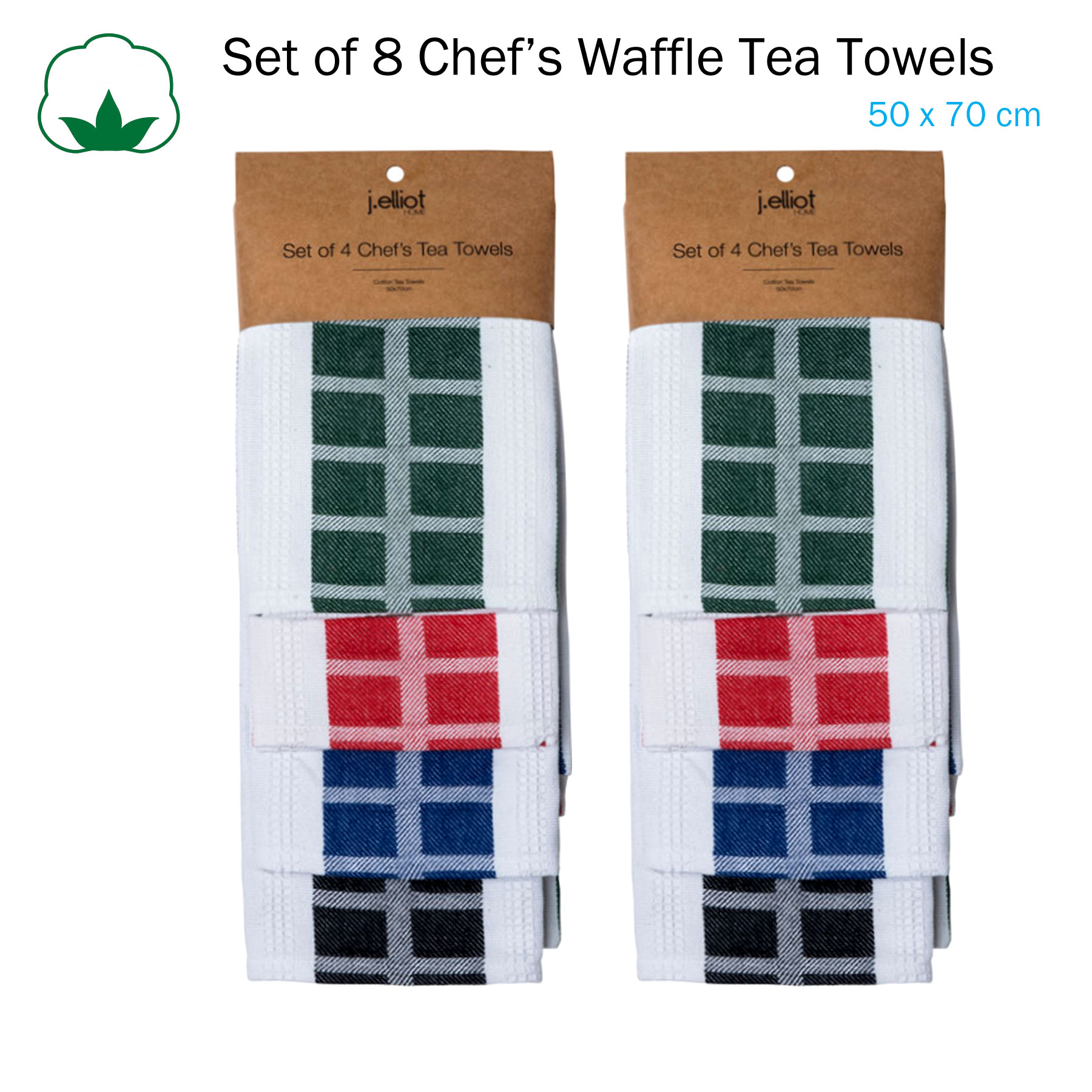 Set Of 8 Chef S Waffle Cotton Kitchen Tea Towels 50 X 70 Cm By J