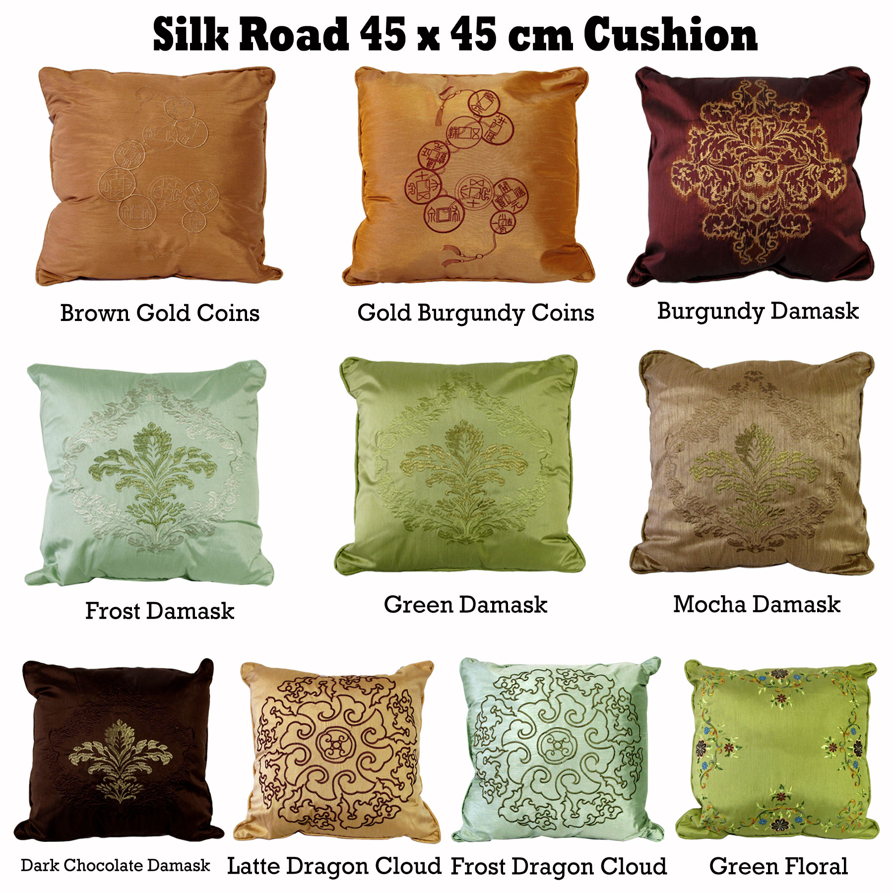 Silk Road Oriental Embroidery Filled Square Cushion 45 X