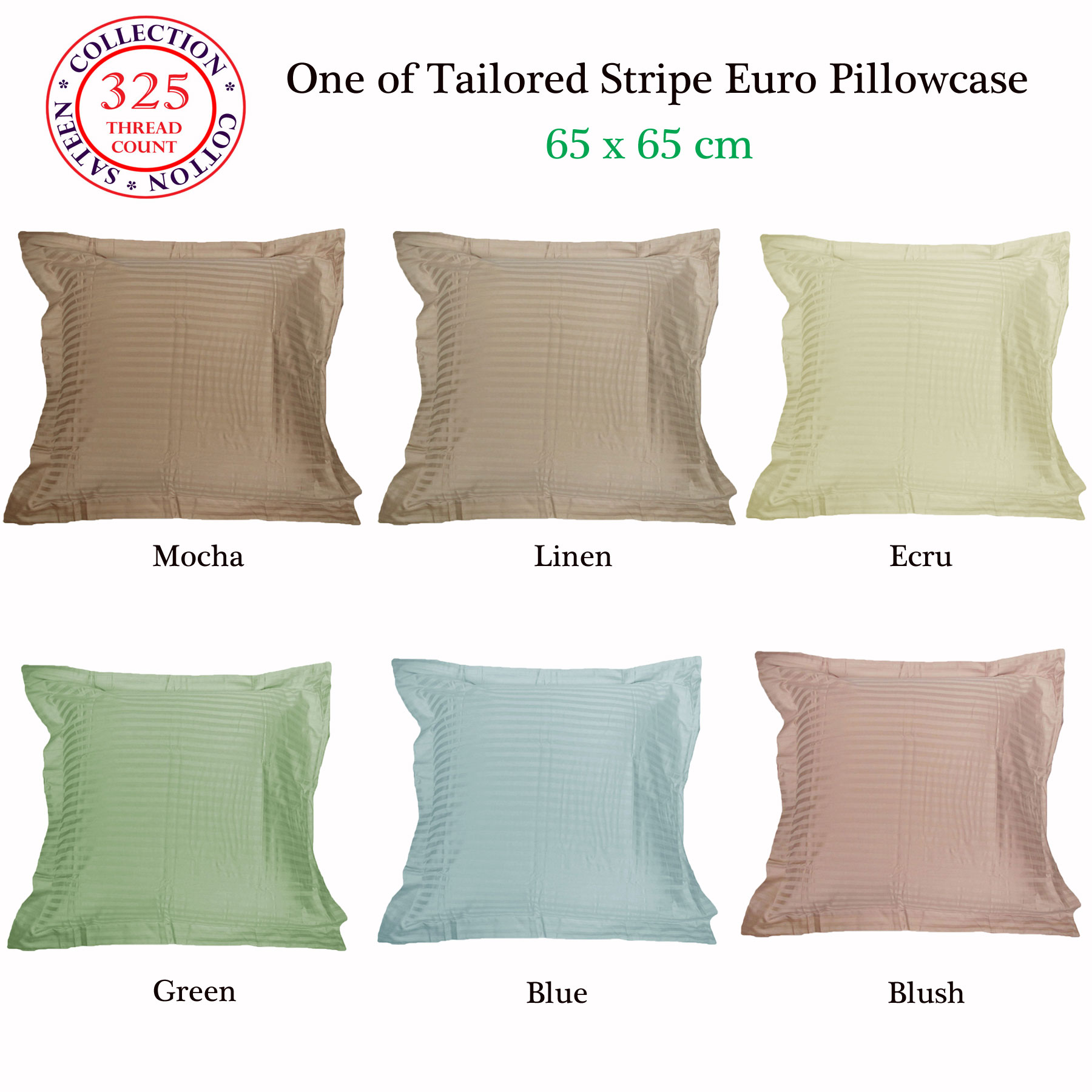 325TC 100% Pure Cotton Self Stripe European Pillowcase MOCHA LINEN ECRU GREEN