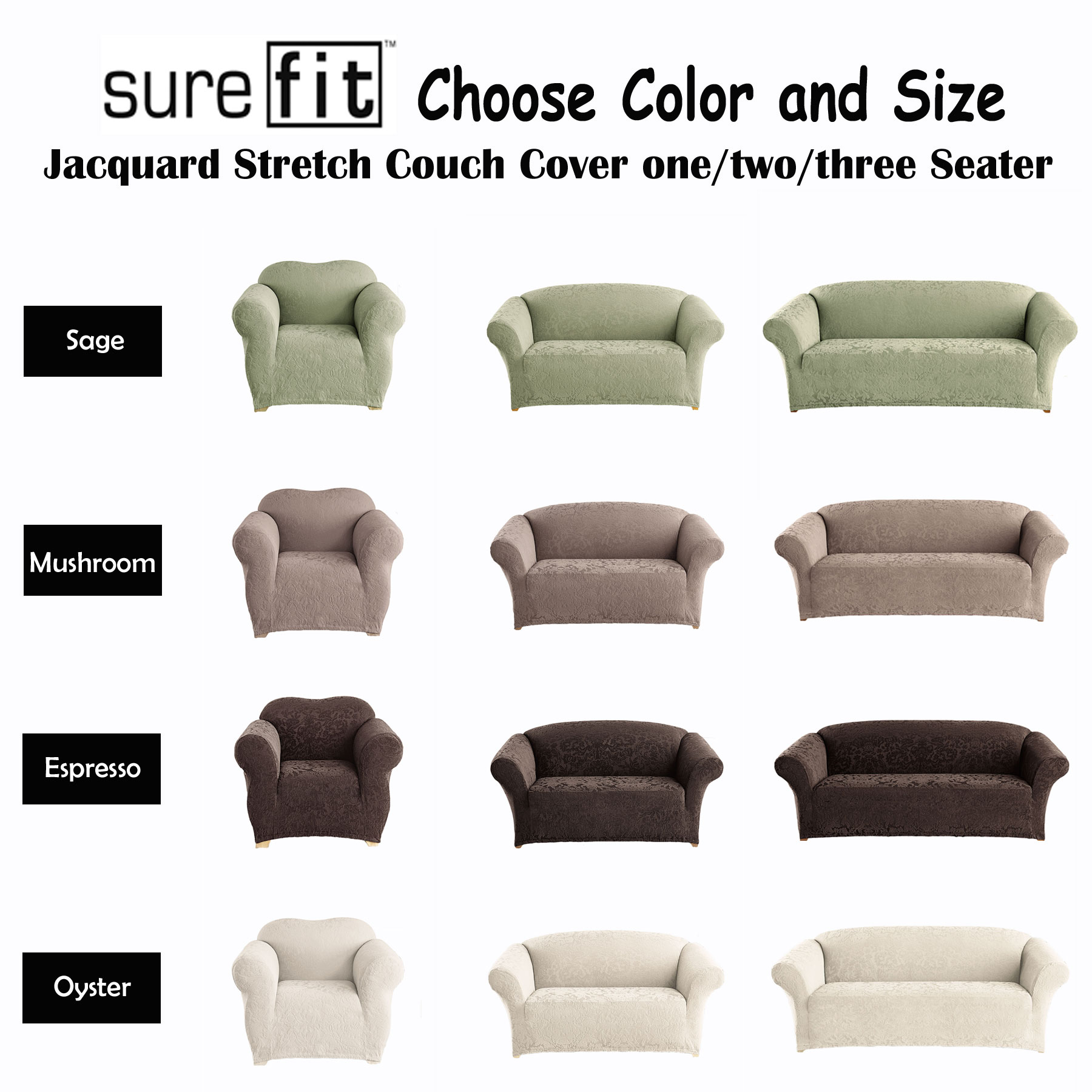Stretch SUREFIT Jacquard Couch Cover   1 Seater, 2 Seater, 3 Seater   4