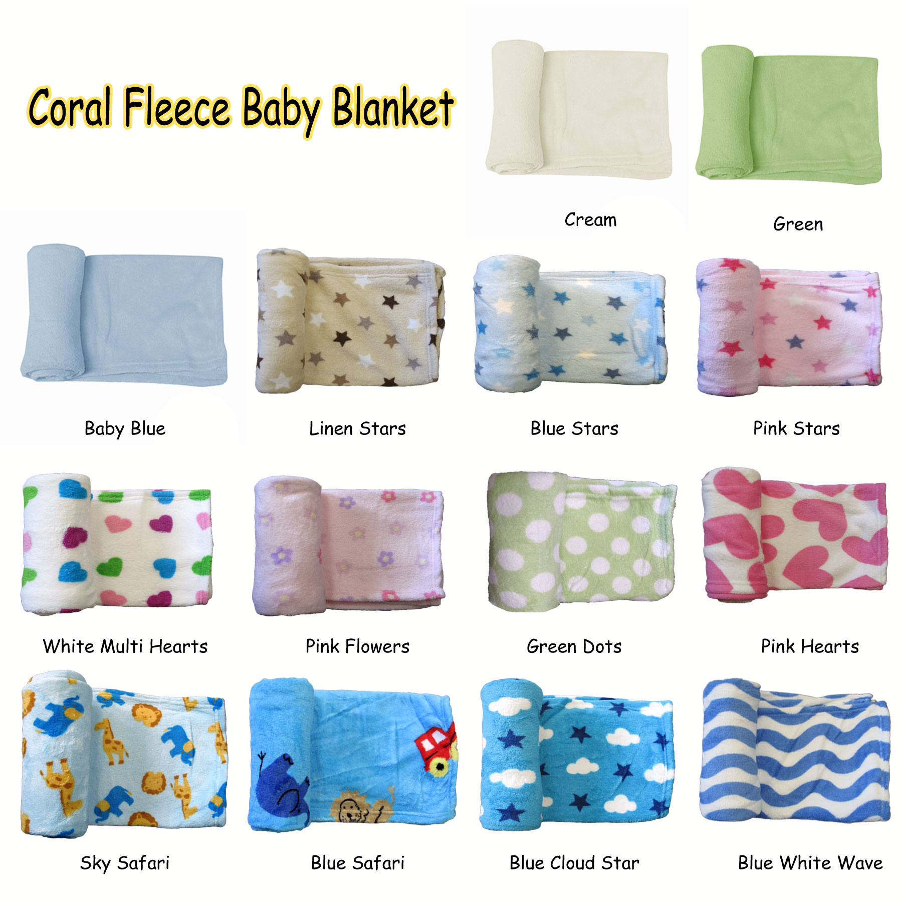 Details About Ultra Soft Baby C Fleece Throw Rug Blanket Animal Stars Hearts Wave Plain