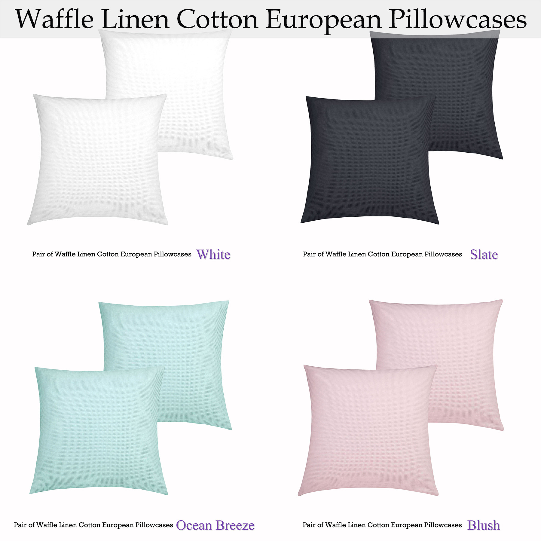Pair of Waffle Cotton Linen European Pillowcases by Accessorize